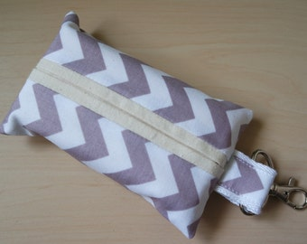 Travel tissue / kleenex holder with bag clip - 100% cotton chevrons [Grey]