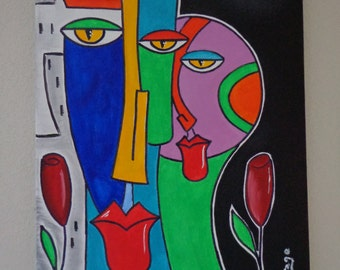 "Table ""Couple"" acrylic paintings on canvas"