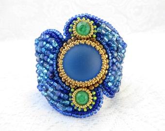 Blue Beaded Cuff Bracelet, Blue Bead Embroidery Bracelet, Bead Embroidered Cuff,Jewelry Gift, Gift Bracelet, Seed Bead Bracelet
