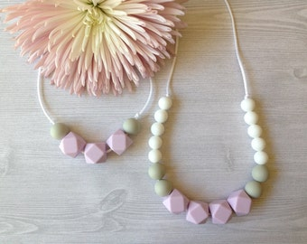 SALE*** MAMA & ME Teething Necklaces - Watermelon, Peach, Lilac, Teething Necklace, Food Grade Silicone, Baby Shower