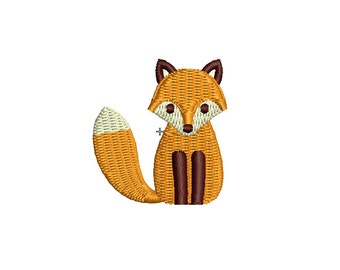 Cute little fox machine embroidery design. 3 sizes. Instant download