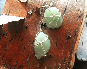 Green Aventurine stone and silver wire wrapped earrings
