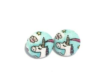 Unicorn earrings, button earrings, unicorns