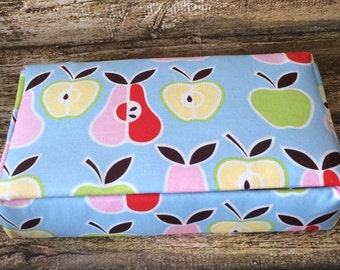 Fabric Covered Box - Trinket Box - Memory Box - Cigar Box - Apple Design