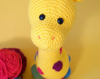 Giraffe amigurumi crochet colored high quality toy!