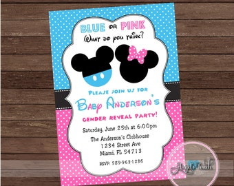 Mickey and Minnie Mouse Gender Reveal Party  Invitation, Mickey Mouse and Minnie Mouse Gender Reveal Invitation, Digital File.