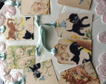 Set of Eight Gift Tags/ Baby Shower Favor Tags: Colored vintage illustrations from Children's book