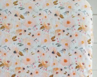 Peach Watercolor Floral Crib Sheet, Minky Crib Sheet, Blush Crib Sheet, Peach Crib Sheet, Fitted Crib Sheet, Girl Crib Sheet, Floral Sheet