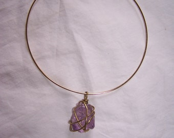 Natural Amethyst Crystal Brass Wire Wrapped Pendant