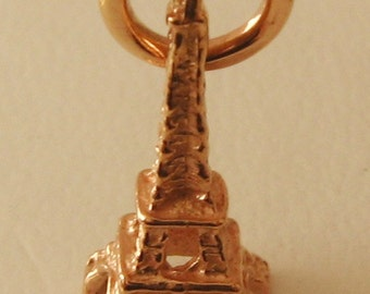Genuine SOLID 9K 9ct ROSE GOLD 3D Paris Eiffel Tower France charm/pendant