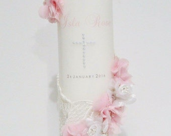 Baby girl Christening candle