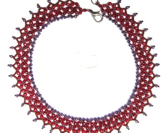 Ruby beadwoven necklace