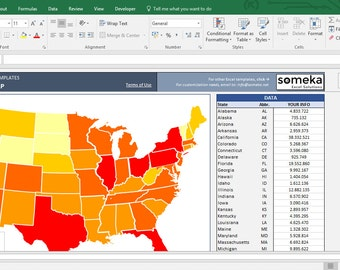 USA Heat Map – Excel Template