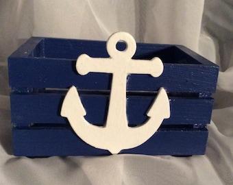 Dark Blue Nautical Mini Crate with Anchor