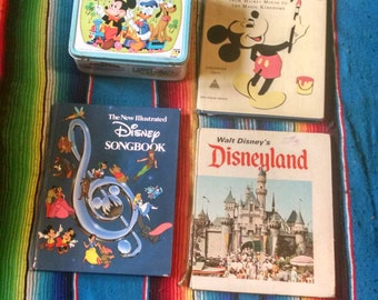 Vintage Walt Disney Lot of 3 Books and Metal Lunchbox