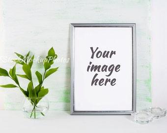 Frame mockup. Poster Mockup. Styled mockup. Product mockup.  Design Mockup. Silver frame mockup. Graphic Design. INSTANT DOWNLOAD