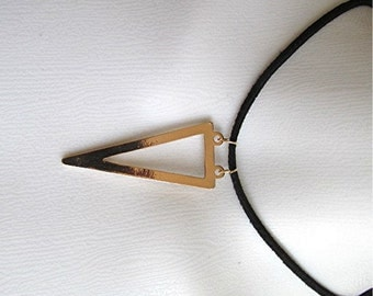 Leather choker triangle pendant necklace gold tone suede leather geometric abstract handmade.