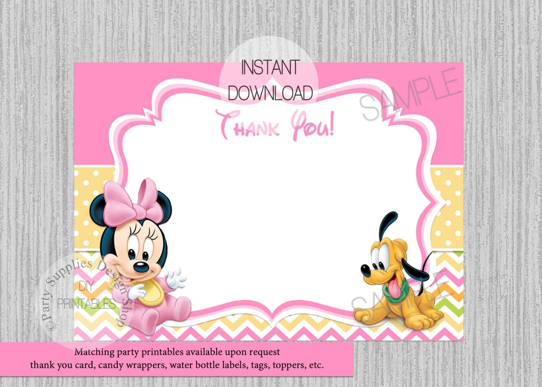 Baby Minnie Mouse compleanno biglietto di ringraziamento