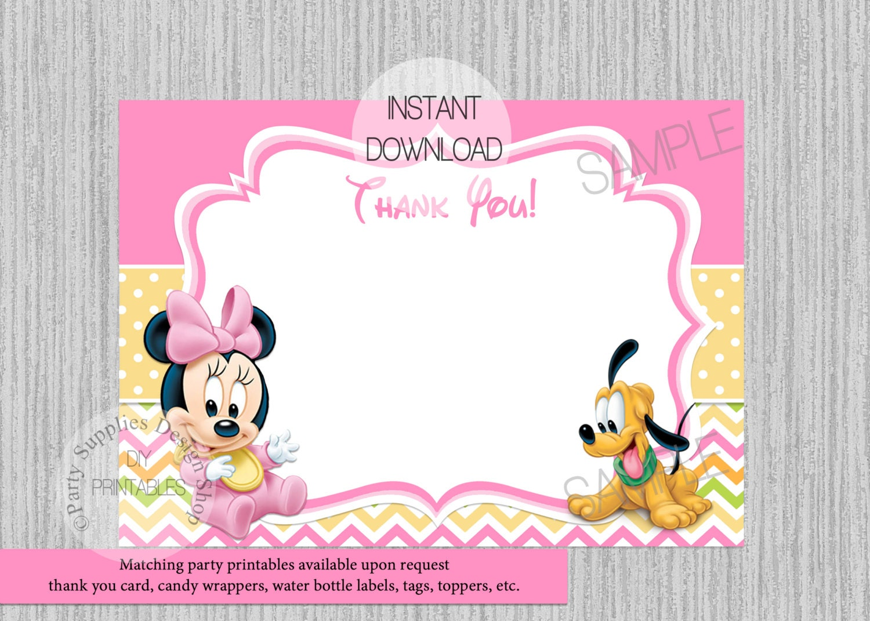 Tarjeta de bebé Minnie Mouse cumpleaños gracias instante