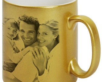 Personalized Golden Sparkling Mug with your own photo or text