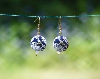 Handmade Wooden Button Earrings