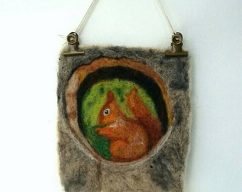 Squirrel wool painting, needle felted squirrel wool painting, nursery, gift, wall hanging, birthday, cards
