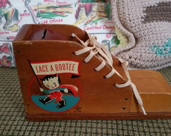 Vintage 1940s Kids Bank Lace A Bootee Learn To Tie Your Shoes