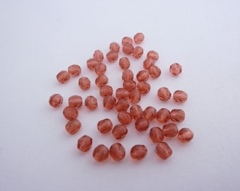 4mm Fire Polished Beads Fire Red x 50