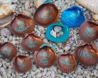 Handpainted Seashells, Mermaid Seashells, Inspirational quotes, Painted Seashells Set, Painted Shells