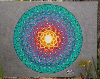 Mandala Painting, 11 x 14 Canvas Board, Fiesta Mandala, Original Mandala Painting