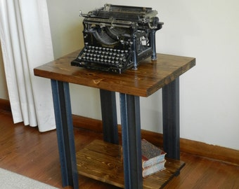 Industrial style wood and metal end table