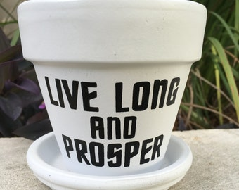 Star Trek Live Long and Prosper Hand Painted Flower Pot