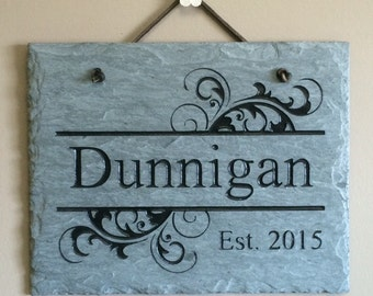 Damask Family Name Plaque Slate