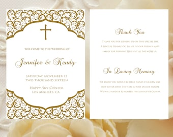 Printable Catholic Folded Wedding Program Faith Template Editable Text Instant Download DIY MS Word WPFLODER19