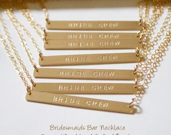 Bridesmaid personalized bar// Gold Bar Necklace// Personalized Bar Necklace// Bridesmaid Gift//Engraved Necklace//Hand Stamped//Bridal Party