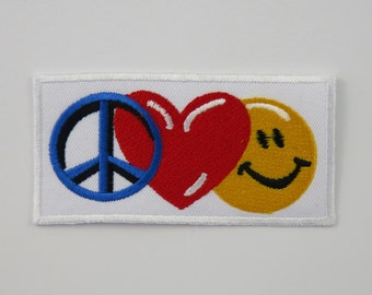 Peace, Love, & Happiness Iron On/ Sew On Embroidered Cloth Patch Badge Appliqué CND heart smiley face happy UK seller Size:  9.5cm x 4.8cm
