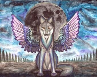wolf animal wall art , Wolf art , wolf painting , wolf night painting ,   trippy art , surreal art ,  original watercolor painting ,