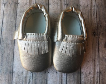 Baby moccasins -6-12 months-gold moccasins -crib shoes