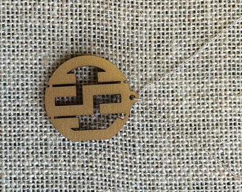 Wood Oxford Monogram Necklace
