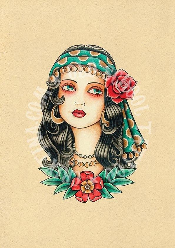 T01. Gypsy woman. Flash tattoo. Old school tattoo. Art tattoo.