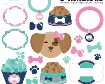 Posh Puppy Digital Clipart - Personal & Commercial Use - Dog Clipart, Pet Graphics, Puppy Dog Pamper Images