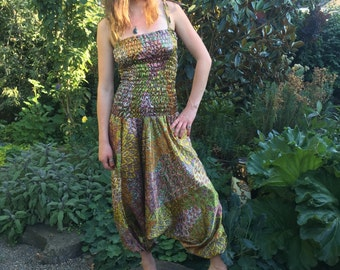 Vintage Bali Silk Harem Pant Jumpsuit, Perfect for Hooping