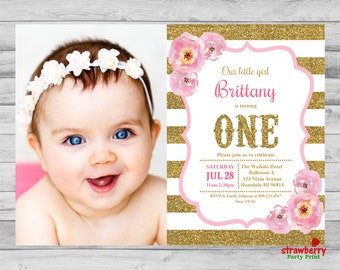 Pink and Gold First Birthday Invitation, Photo Invite, Baby Girl Stripes Pink Gold Glitter Watercolor Floral, Custom Digital Printable A3