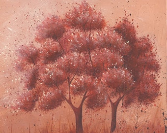 "Wine Red Tree Painting Acrylic Painting Original Art Marsala by Caroline Fellis 24x24x0.75"" Nature Trees Acrylic on Canvas A/C COA"