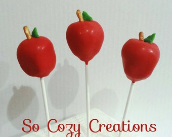 One Dozen Red Apple Cake Pops- 12 Cake Pop big Red Apple Style Perfect Gift, Dessert for wedding, teacher's and autumn and fall/ Halloween