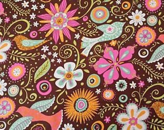 BTHY- Lily by BJ Lantz for Quilting Treasures, #23085-A Main Floral, Green, Pink, Aqua, White, Orange Flowers, Birds, Leaves & Dots on Brown