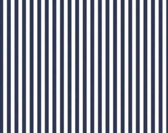 """By The HALF YARD - Stripes in Ink for Waverly Inspirations, Pattern #G041702-Ink, Beautiful Color Navy and White 5/16"""" stripes"""