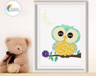 Nursery Art Owl Print - Boys Nursery or Girls Nursery - Children's Bedroom Wall Art