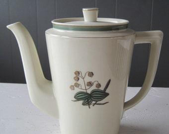 "Vintage Royal Copenhagen Coffee Pot pattern ""Hjertegræs"", Danish teapot, Design Thorkild Olsen,Scandinavian porcelain,"