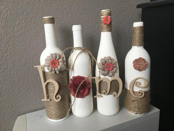 Wine bottle home decor wine bottle decor by for Bottle decoration